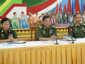 Snr-Gen Min Aung Hlaing, center, talks to the media on Friday, 13 May 2016. (Photo: Htet Naing Zaw / The Irrawaddy)
