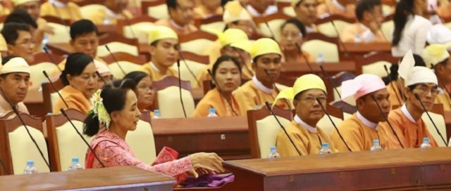 Aung San Suu Kyi, the Burma's State Counselor and the leader of the ruling party the National League for Democracy (NLD).