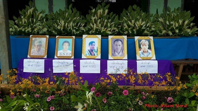 A funeral service was held on Saturday for five victims in a monastery in Mong Yaw.