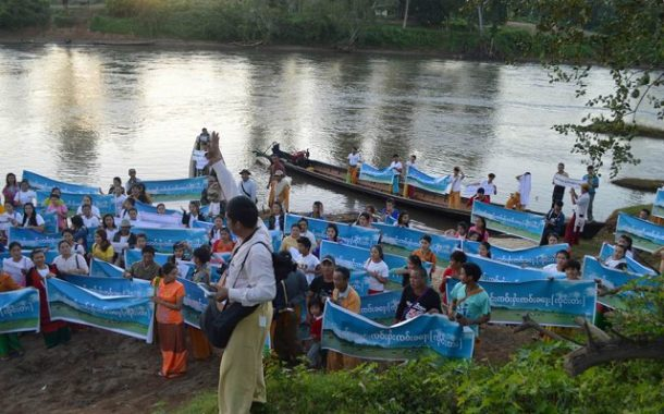 Hundreds protest dam on Namtu River