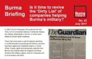 Is it time to revive the 'Dirty List' of companies helping Burma's military?