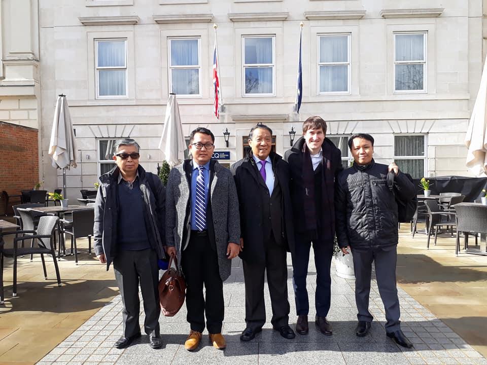 Myanmar team in front of hotel