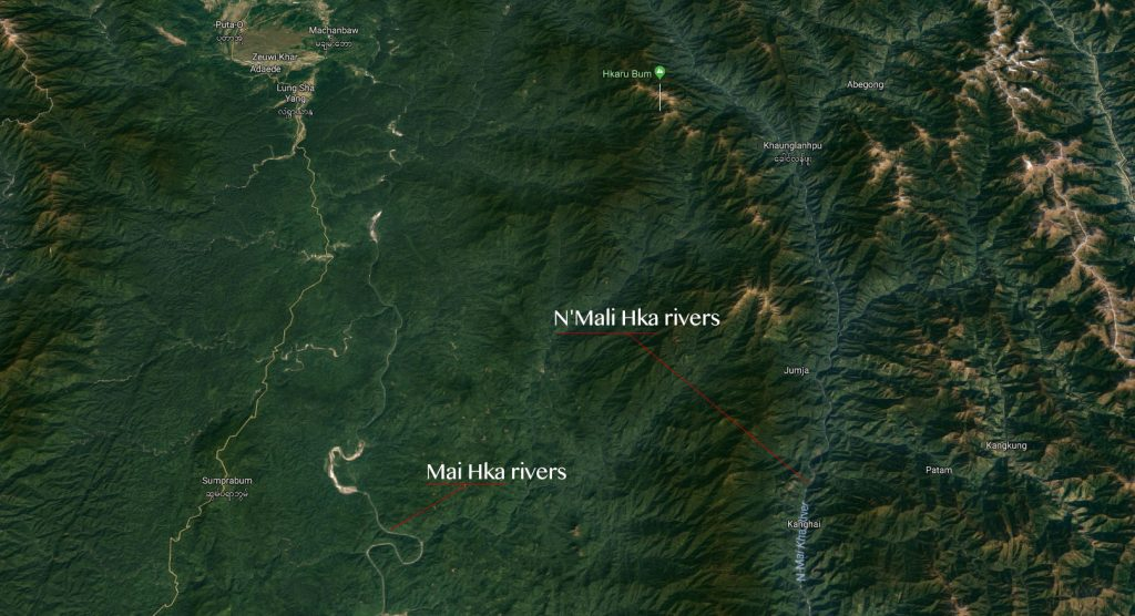 Mai Hka & N'Mali Hka rivers map