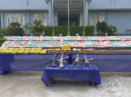 Photo frim cindc website Drugs and weapons seized from Chinese National in Muse Northern Shan State last Friday 15 May 2020