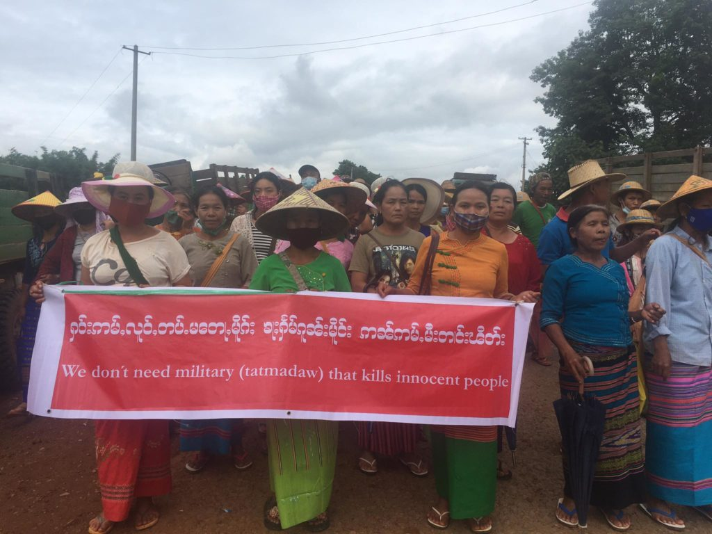 Photo by Kyautme Youth More than 10000 local people protested the Burma Army in Kyaukme northern Shan State on 10 July