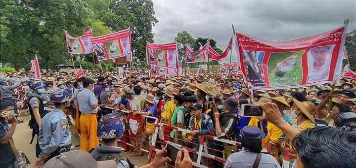 Photo by Kyautme Youth More than 10000 local people protested the Burma Army in Kyaukme northern Shan State on 10 July 2020 1