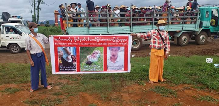 Photo by Kyautme Youth More than 10000 local people protested the Burma Army in Kyaukme northern Shan State on 10 July 2020