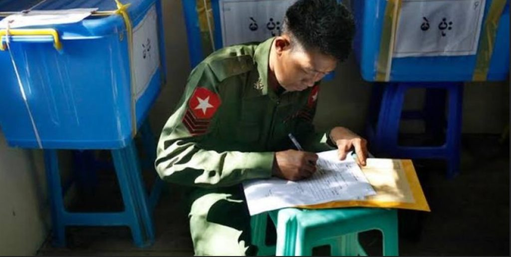 Photo Credit to MNA Myanmar Army polling Station