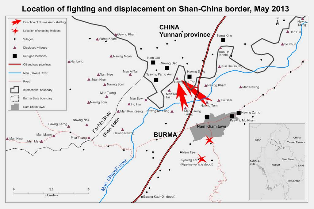 map of fighting and displacement on Shan China border1