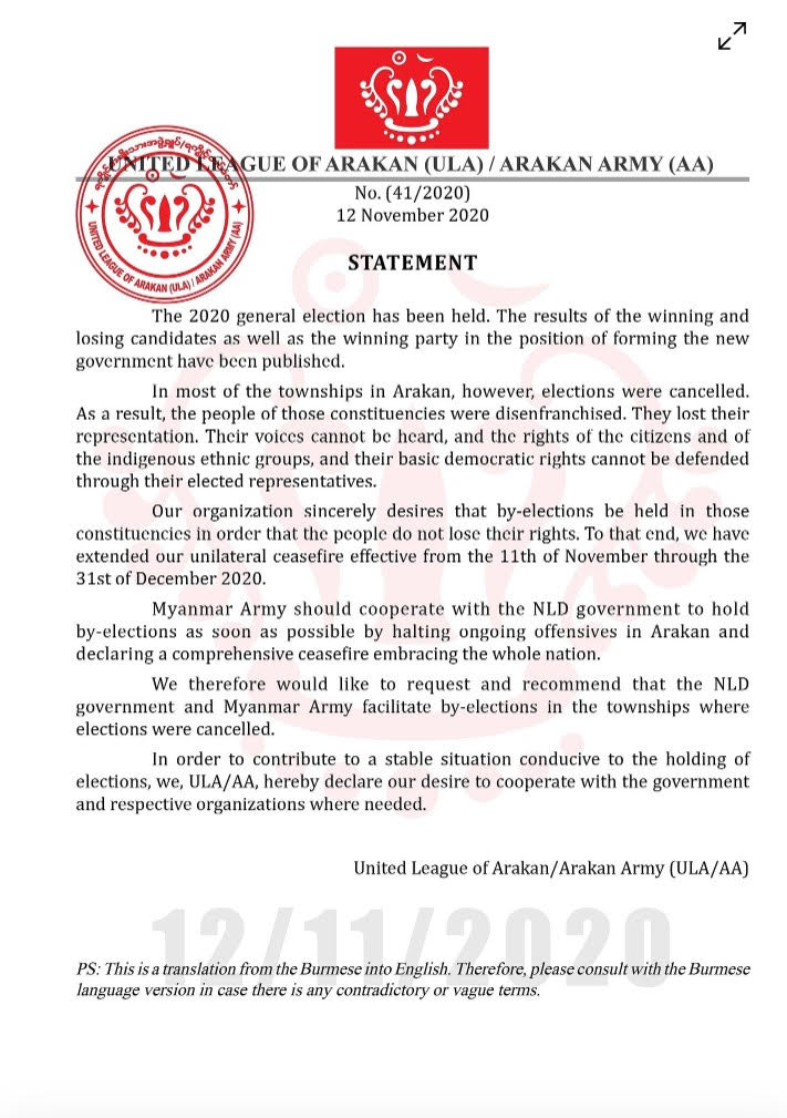 unnamedStatement of ULA/AA urging the government and the Military to conduct by-elections in excluded 9 townships in Arakan State