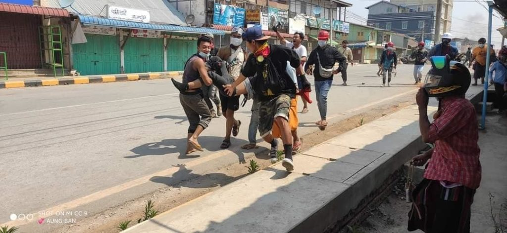 Aung Pans protester youth carry the injure body shoot by military 19 March