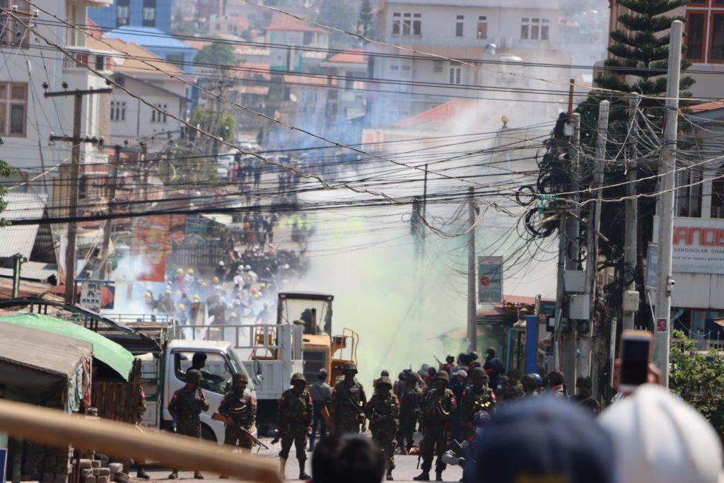 Security Forces Attack Taunggyi Protesters With Rubber Bullets Tear Gas