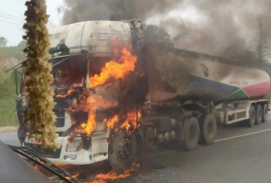 KIA burning fuel tanker at Kutkai Northern Shan State